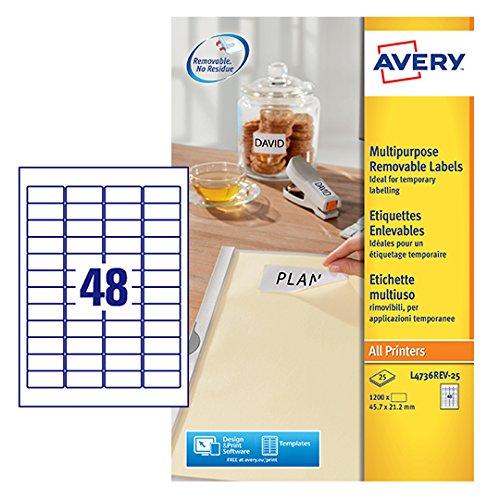 Avery L4736REV-25 zelfklevend verwijderbare mini-labels, 48 etiketten per A4 vel - wit