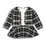 Conjuntos de bebé para niñas Niños, niños pequeños Bebés Niñas Abrigos a cuadros Vestido de chaqueta Suéter de ganchillo de punto Ropa Negro 6-12 meses, Conjuntos de bebé para recién nacidos