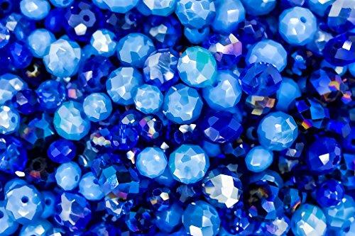 Juego de 400 cuentas de cristal azul océano para joyería y manualidades