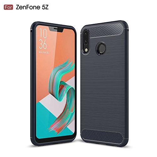 AVIDET Asus Zenfone 5 ZE620KL ケース 炭素繊維カバー TPU シリコン Zenfone5 ZE620KL ケース 保護バンパー 弾力性付き (Zenfone 5Z ZS620KL ケース ブルー)