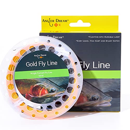 ANGLER DREAM Orange Gray Fly Line 90FT Weight Forward Floating 8WT Fly Fishing Line