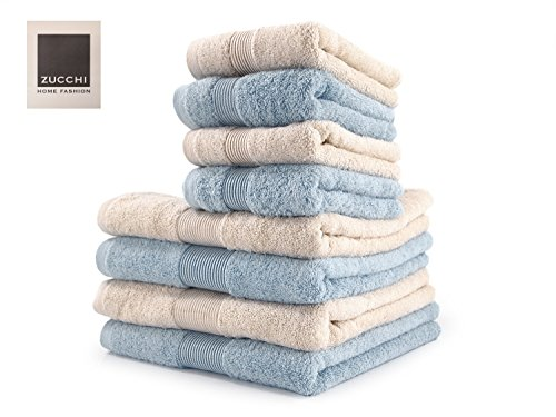 Zucchi Set Asciugamano 8 Pezzi Home Fashion VAR. Beige e Opale + tavoletta Profumo Biancheria per armadi by biancocasa