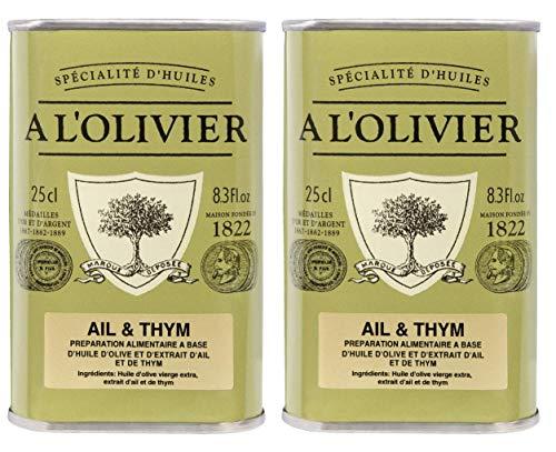 A l\'Olivier - 2er-Set Provence Olivenöl mit Knoblauch & Thymian (Ail & Thym) - 2 x 250 ml