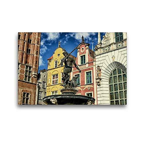 CALVENDO Premium Textil-Leinwand 45 x 30 cm Quer-Format Poseidon Brunnen Danzig, Leinwanddruck von Claus Eckerlin