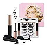 Magnetic eyelashes, 5 pairs of reusable magnetic eyelashes with eyeliner, Magnetic lashes with Tweezers, Natural Look Lashes and Easy to Wear