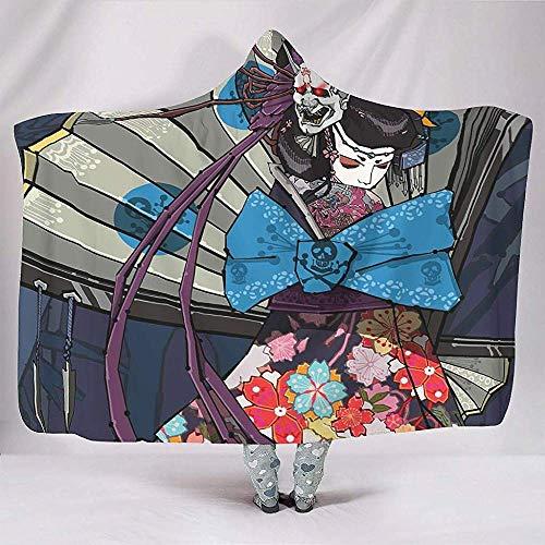Nat Abra Mujer Gótica Japonesa Máscara De Oni Chica Kimono Obra De Arte Mantas Suave Cálida Sherpa Fleece Ventiladores Capa Sofá De Lectura