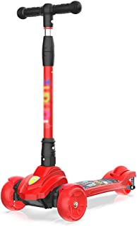 Scooters YXX Red Folding Shock Absorption Kick with 3 Light Up Wheels, Adjustable Height, 80 Kg Weight Capacity