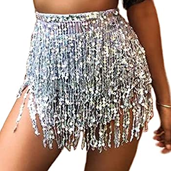 RELBCY Belly Dance Hip Skirt Tassel Sequins Skirts Fringe Scarf Wrap Rave Performance Costume for Women and Girls  A-Silver