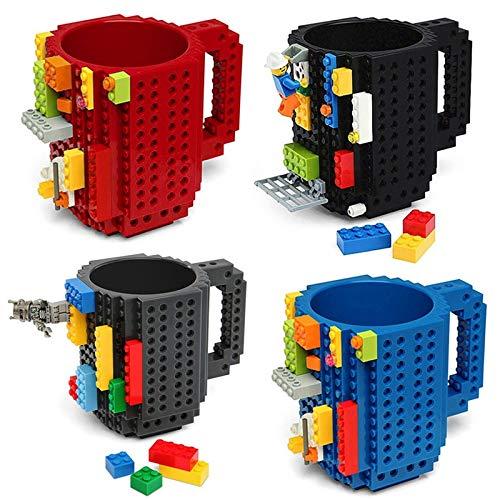 Yodensity Taza de café creativa de 350 ml con diseño de bloques de construcción (4 unidades)