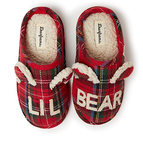 Dearfoams Family Collection Kids & Toddler Bear Plaid Clog, Lil Bear Red Plaid, 4-5 Big Kid