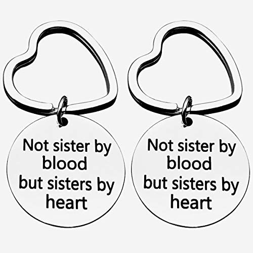 Best Sister Keychain,Keychain for Sister Jewelry Gift Not Sister by Blood But Sister by Heart Keychain Sweet Gift for Friends Women(2 Pack)