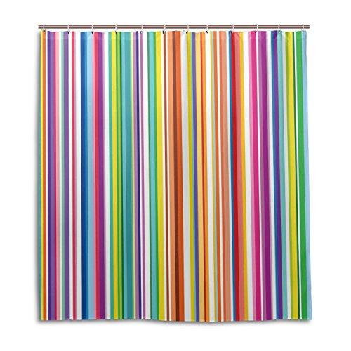 MyDaily Bunte Regenbogen-Streifen Duschvorhang 182,9 x 182,9 cm, schimmelresistent und wasserdicht Polyester Dekoration Badezimmer Vorhang