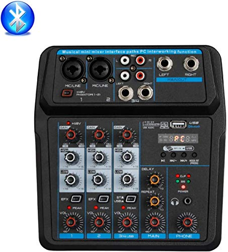 Depusheng U4 Mini mezclador portátil Consola de DJ de audio con tarjeta de sonido, USB, 48V Phantom Power para PC Grabación Cantando Fiesta de webcast