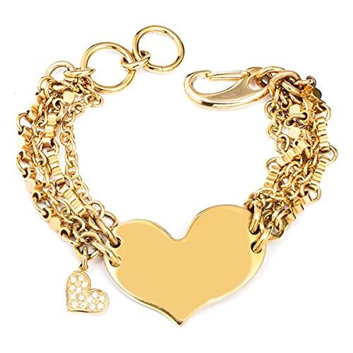 Pulsera de mujer de acero inoxidable de la marca Folli Follie, color dorado, 18 centímetros (referencia: 3PORO24T)