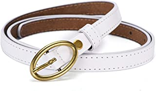 Women's Cowhide Leather Jeans Belts With Single Prong Buckle (Color : White)