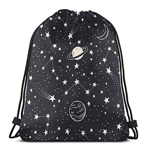Molelanki Raumplaneten Kometen Sternbilder und Sterne Nachthimmel Gekritzel Kordelzug Sportrucksack Leichter Fitness-Yoga-Sackpack Lässiger Outdoor-Tagesrucksack 36 x 43 cm