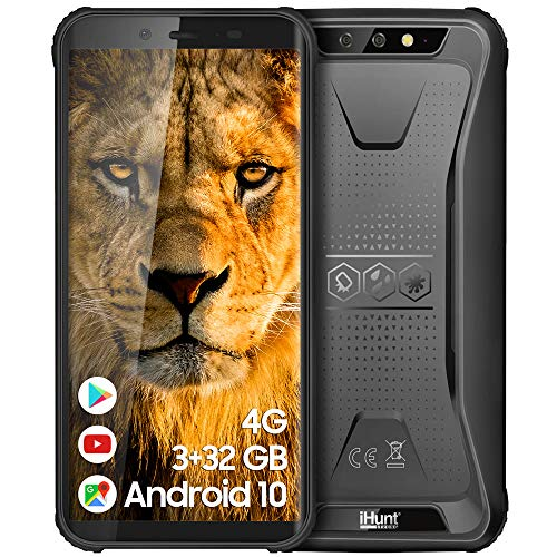 iHunt S60 Discovery Plus 2021 | Dual Sim | 4G | Robustes Handy IP68 | 14 cm (5,5 Zoll) HD IPS | 32 + 3 GB | 4400 mAh | Android Betriebssystem | Schwarz