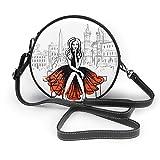 Sacs à bandoulière femmes sacs ronds artistique dessiné à la main esquisse de la femme assise sur un banc à Rome, Italie Crossbody en cuir cercle sac