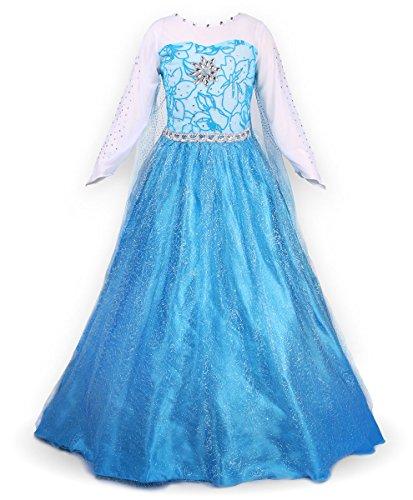 JerrisApparel Prinzessin Kostüm Karneval Verkleidung Party Kleid (110, ELSA)