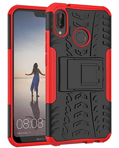 Yiakeng Huawei P20 Lite Cover, Doppio Strato Silicone Antiurto Far Cadere Protezione con Kickstand Custodia per Huawei P20 Lite (Rosso)