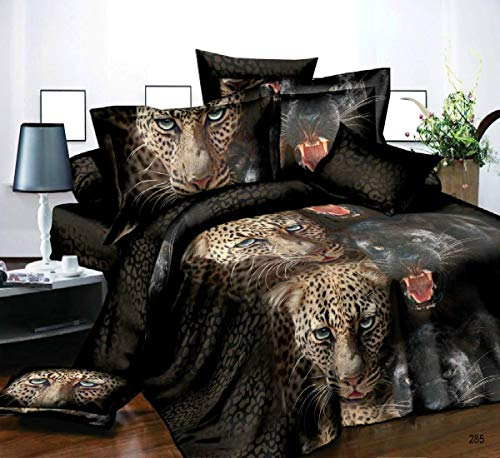 3D EFFECT IMAGES 4 PIECES COMPLETE BEDDING SET LEOPARD AND PANTHER 285 DESIGN 1 DUVET COVER 1 FITTED SHEET 2 PILLOW CASES SIZES SINGLE DOUBLE KING SUPER KING (Leopard and Panther 285, King)
