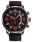 MINI FOCUS - Reloj de Cuarzo Pulsera Impermeable para Hombre Elegante Clásico Multifuncional Cronógrafo Fecha - Rojo