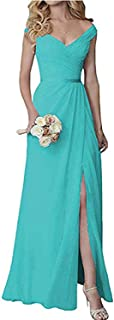 Botong Chiffon V Neck Bridesmaid Dress Long Split Prom Eveninig Dress