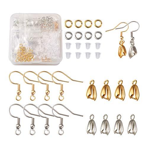 Beadthoven - Juego de 440 ganchos para colgar pendientes con anillos de salto suaves para hacer joyas de repuesto (dorado y plateado)
