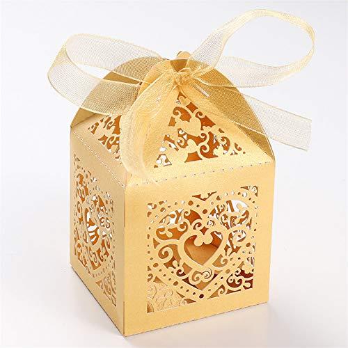 UNHO 25 Piezas Caja Papel para Boda Caja de Regalo para Caramelos Bombones Dulces Galletas Recuerdos Ideal para Boda Cumpleaños Fiesta Comunión Bautizo Color Amarillo