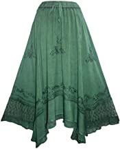 Agan Traders Boho Medieval Gypsy Embroidered Elastic Waistband Uneven Hem Ruffle Skirt Maxi