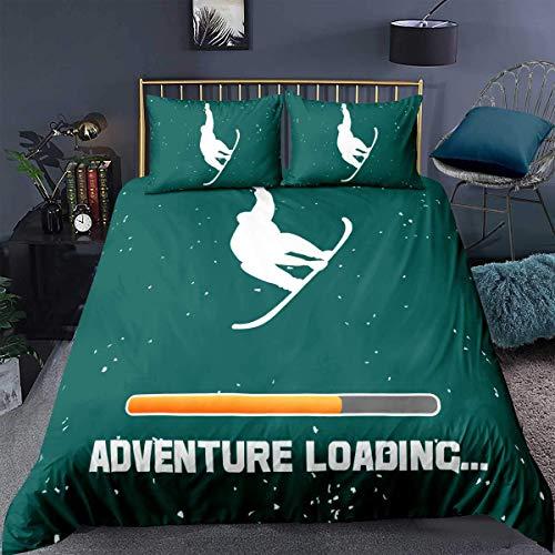 352 Boys Bedding Set,Ski Sports Snowflake Vintage Fun Words Hipster Fashion Green Design Print,Decor Comforter Cover Single Size 2 Pcs (1Duvet Cover+1 Pillowcase),Zipper