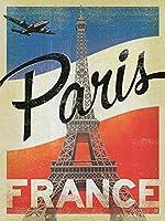 パリフランス錫サインヴィンテージノベルティ面白い鉄の絵の金属板