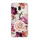 Ostop Coque pour Samsung Galaxy J3 2017/J330,Vintage Motif Floral Étui TPU Silicone Souple Femmes...