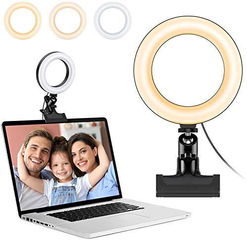 Anillo de luz LED, Anillo de luz de 6.3'y Modo de 3 Colores 10 Brillo Regulable, luz de Mesa giratoria de 360 ° con Clip de Resorte para Selfie móvil Youtube Vlog de Maquillaje en vivo-A15