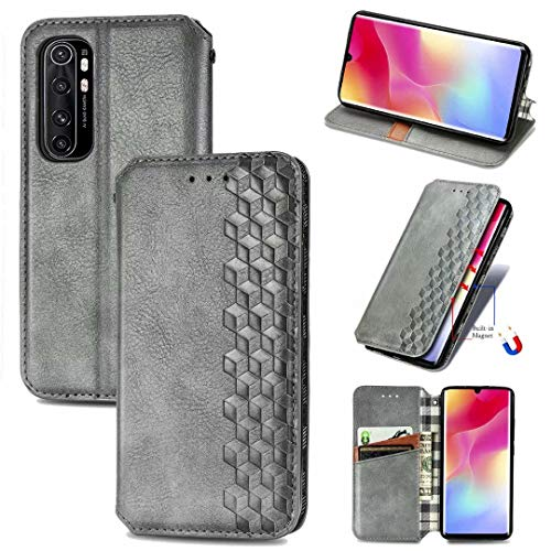 ZXL Xiaomi Mi Note 10 Lite Flip Case,3D Bling Retro Book Style Wallet Case Card Slots Kickstand Phone Case with Magnetic Protective Cover for Xiaomi Mi Note 10 Lite Grey