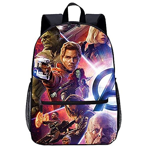 LGBCK Zaino scuola unisex stampa 3D Avengers 3: Infinity War Borsa per laptop leggera, adatta a studenti, adolescenti, ragazzi e ragazze, libri, laptop, viaggi e campeggio