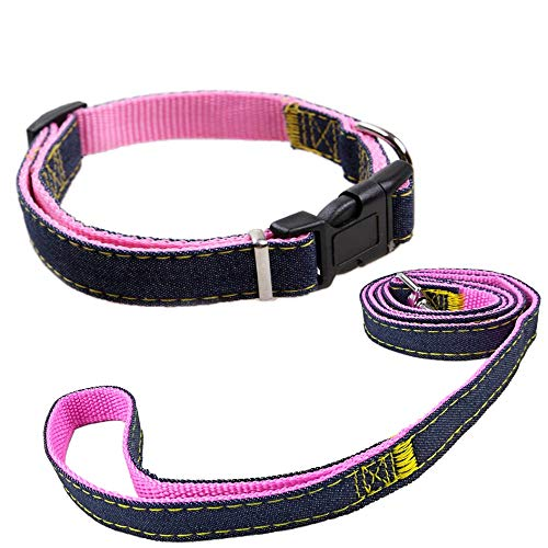 Newtensina Moda Collare e guinzaglio per Cani Set Panno di Jeans Cucciolo Collare con guinzagli per Cane - Pink - S