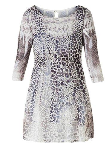 Yesta Leichtes Sommerkleid Knielang A-Linie mit Ärmel Grau Weiß Damen Viskose 3/4 Arm große Größen, Größe:50/52