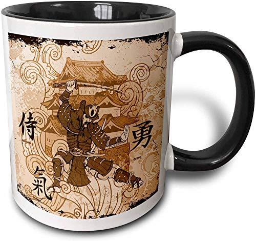 Ein braun gefärbtes Samurai-Kriegergebäude mit orientalischer Schrift.Becher, schwarz 11 oz
