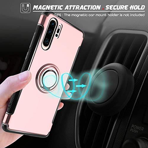 Hülle für Huawei P30 Pro (6,47 Zoll) 360 Grad Drehbar Ringhalter mit Magnetischer Handyhalter Auto Handyhülle (Roségold)