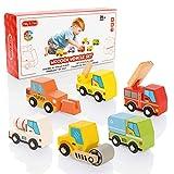 Milly & Ted - Juego de Coche de Juguete de Madera - Juego de 6 carritos para niños de 2 años y...