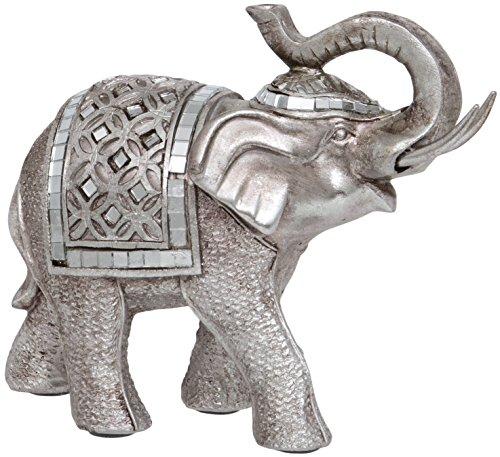 Maturi–Raised Tronco Buda Estilo Figura de Elefante, de Metal, Multicolor, 16.76X 5,08X 12,7c