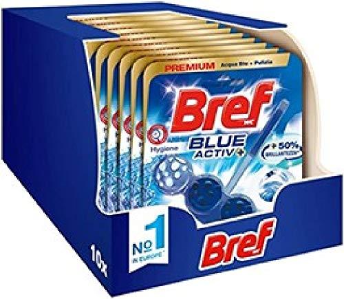 Bref WC Blue Activ + Detergente WC, Pulizia e Freschezza per il tuo WC, Formato Scorta da 10...
