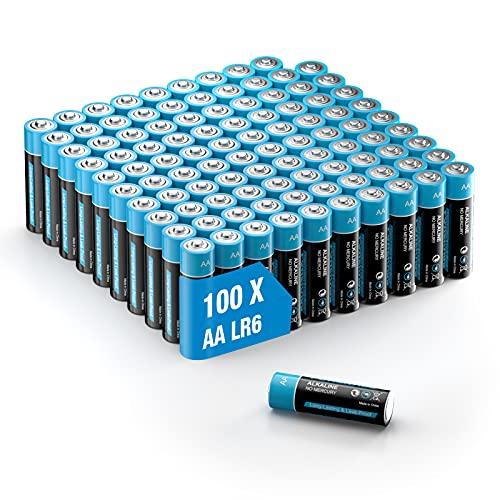 Pilas alcalinas 100 pilas AA – Lote de 1,5 V potentes de almacenamiento de 10 años LR6, pilas para mando a distancia, radio despertador, reloj y linterna de bolsillo