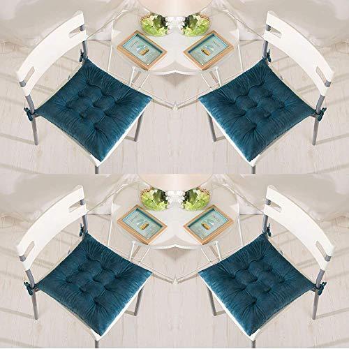 XHNXHN Juego de 4 cojines para sillas de 40 x 40 cm, con cordones, de terciopelo, cómodos, cuadrados, para sillas de comedor, cocina, salón, patio, jardín, interior, exterior, color turquesa