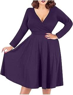 OFEFAN Women's V-Neckline Stretchy Casual Midi Plus Size Bridesmaid Dress