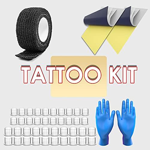 Tattoo Kit, Wormhole Tattoo Pen Kit Cartridge Tattoo Machine Kit for Beginners Rotary Tattoo Machine Pen Kit Tattoo Pen Type Machine Kit Professional Complete Tattoo Kit Tattoo Supplies WTK070