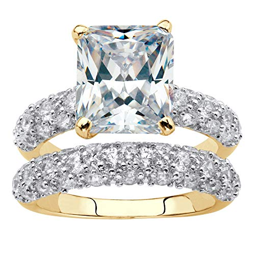 Palm Beach Jewelry 14K Yellow Gold-Plated Emerald Cut Cubic Zirconia Wedding Ring Set Size 5
