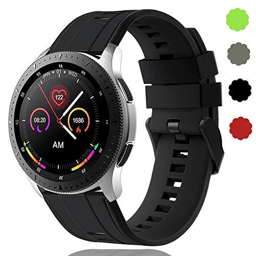 22 mm Schnellwechsel-Armbänder Kompatibel mit Samsung Galaxy Watch 46 mm/Huawei Watch GT 2 / Samsung Gear S3 Classic/Samsung S3 Frontier Silikon Sportuhrarmband für Herren Wowen DE91004 (#1)