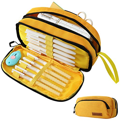 Aineeba Big Capacity Pencil Case Pouch Bag Pen Boxes For Girls Boys Supplies For College Students Middle High School Office Large Storage(Yellow)